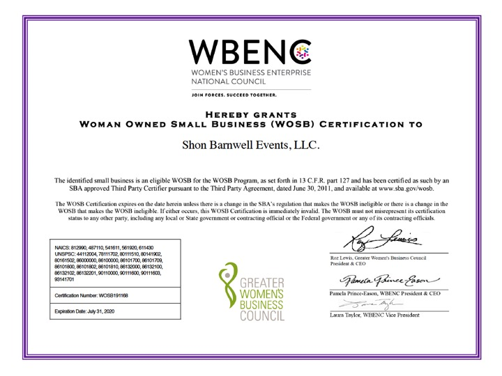 Shon Barnwell Events Receives WBENC Certification! - Shon